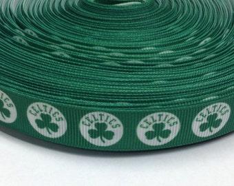 "4 Yards of 5/8"" Celtics Grosgrain Ribbon"