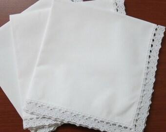 """100 white lace cotton women's handkerchiefs, 11""""x11"""""""