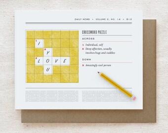Valentine Card, Anniversary, Love, Friendship Card - Crossword