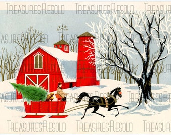 Country Farm Sleigh Bringing Home The Tree Christmas Card #106 Digital Download