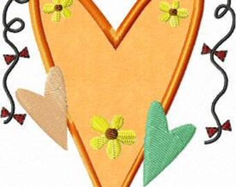 Primitives Heart Applique 4x4 Machine Embroidery Design