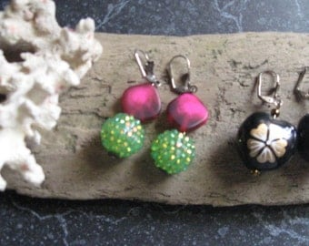 Handmade Earrings Dangle Retro Style Spring Colors Handmade Pierced Earrings