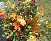 Fall Cemetery Vase of Gourds, Berries, Grasses, Red Bellflowers, Tinny Yellow, Cream, Orange Flowers, Green Silk Fern small mums Fall Leaf