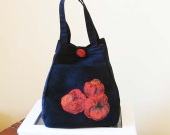 Black fabric handbag . Small handbag. Folds flat for travel. Handpainted poppies. Easy care. Handmade.