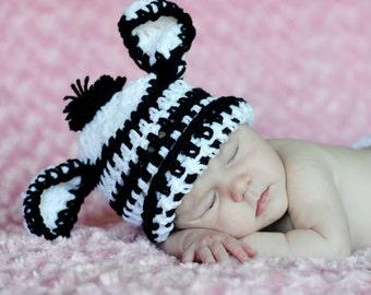 Crochet Zebra Hat, Baby Zebra Hat, Crochet Baby Hat, Newborn Zebra Hat, Baby Photo Prop, Baby Animal Hat, Baby Shower Gift