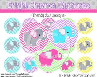 """Bright Chevron Elephants Bottle Cap Images - INSTANT DOWNLOAD - 1"""" Bottle Cap Images 4x6 - 17"""