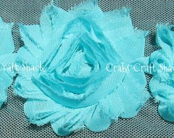 Shabby Flowers - Aqua Light Blue, Half Yard (7 Flowers), Blue Chiffon Flowers, Blue Shabby Flowers, Blue Shabbies