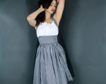 Pin Up Pinup Rockabilly Retro Halter Dress Country Girl Dorothy Dress Custom Size including Plus Sizes Blue White Pink Black