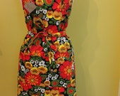 Vintage Scandanavian print fabric apron featuring bold flowers with red, yellow, green, and orange/ bakers apron/ full apron/cooking apron