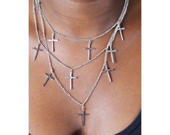 Multi layer chain Silver cross necklace
