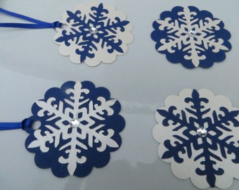 snowflake gift tags, winter gift tags, Christmas gift tags, blue and white snowflakes