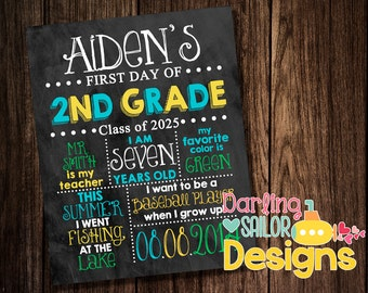 First Day of School Sign, Chalkboard Sign, 1st day of school, Digital File or Print, You choose colors, First Day keepsake, Back to School