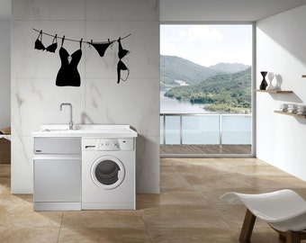 Wall Decor Vinyl Sticker Decal Art Laundry Room Drying Clothes on Rope
