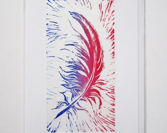 Pack of 3 hand printed cards with feather design