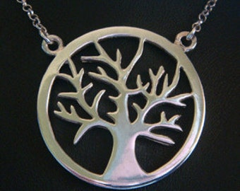 Tree of Life Necklace: 925 Sterling Silver Tree of Life Necklace with a Contemprary Design Tree of Life Pendant & 50cm 925 Silver Chain 002