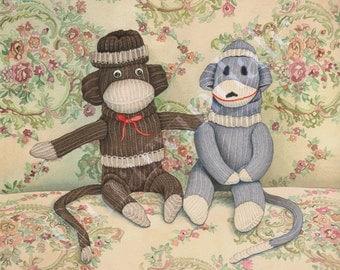 Sock Monkeys (framed art print from watercolour of two antique sock monkeys on vintage sofa by Cori Lee Marvin)