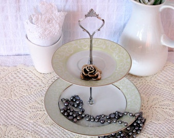 Pretty pale green and white 2 tier mini cake/ cupcake stand/ jewelry stand/Bridal shower gift/Housewarming gift/Mothers gift.