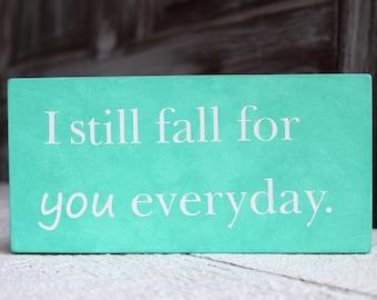 Wood Love Sign, Hand Painted Wedding Sign, I Love You, Sea Foam Blue, Desk Decor,