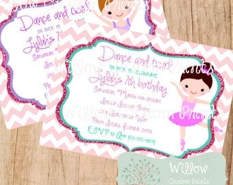 BALLERINA BIRTHDAY INVITATION Dance and Twirl - 5x7 - Pink-  Purple - Chevron - Glitter