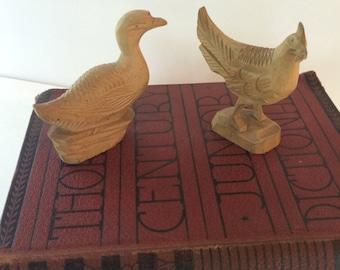 Vintage Wood Carved Duck and Rooster Folk Art Figurines