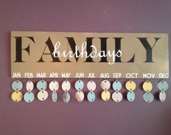 Family Birthdays wood sign