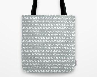 Grey Beach Bag, Ocean Waves Tote Bag, nautical tote bag, gray bag, grey shoulder bag, Beach Tote Bag, Summer Bag, Teacher Gifts