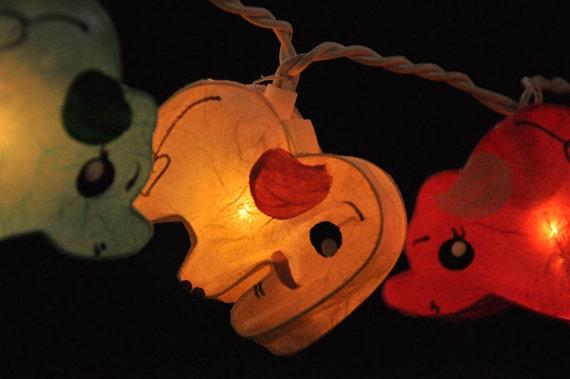 20 Handmade Elephant planet paper lantern string lights kid