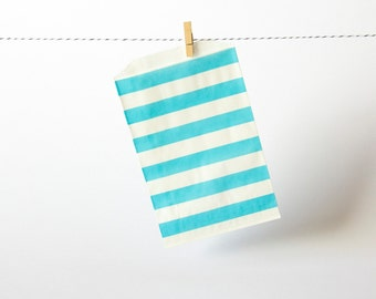 Middy paper bags — Aqua, horizontal stripe → Contain, give, package, stow