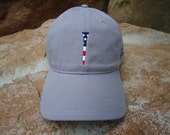 Men's Golf Hat Grey with Embroidered USA Flag Tee Design | Great Golf Gift Item