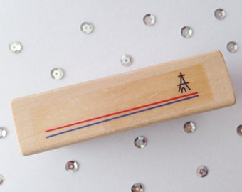 Stamp (Stamp), Eiffel Tower Label (Eiffeltower Label), wood (Wood), Rubber, 7 cm long (length), 2 cm wide (wide)