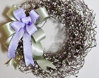 "Spring Berry Wreath - 16.5"" Grapevine Wreath, Premium Silk Floral Wreath"