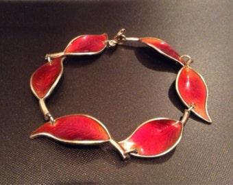 Vintage 1950's David Andersen silver and deep red enamel leaf bracelet, made in Norway.