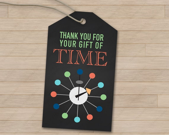 thank you for your gift of time hang tags diy party favors. Black Bedroom Furniture Sets. Home Design Ideas