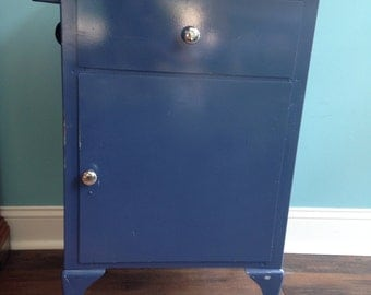 Vintage blue metal dental/ medical industrial cabint