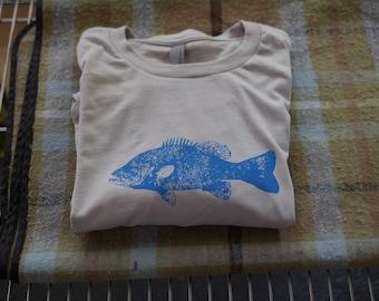 Fish T shirt Men's Next Level 100% cotton in lt. grey.