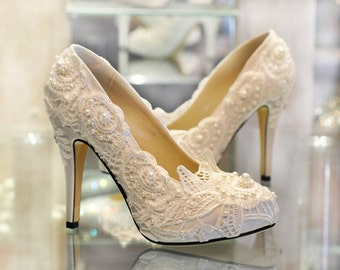 Bridal Ivory Shoes Low Heel 2015 Flats Wedges PIcs In Pakistan Mid Photos