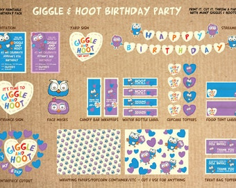 Giggle and Hoot - Printable Birthday Party Pack - DIY - including Invitation, streamer, yard sign, face mask and much more