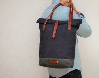 roll top Tote bag waxed canvas, navyl/charcoal color ,with leather handles and closures,hand wax