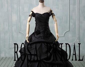 Plus size wedding dress black, Off the shoulder wedding dress, Plus size wedding gown taffeta, Black bridal dress taffeta Custom size color