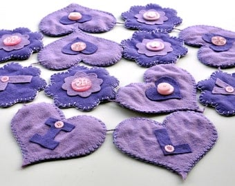 Personalised Bunting / Purple Bunting / Flower and Heart bunting / Room Decoration / Garlands