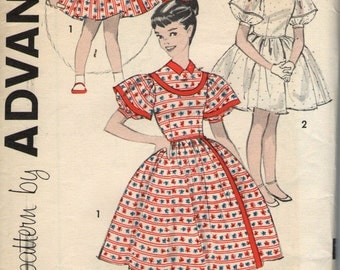 Vintage 1950s Advance Sewing Pattern 9197- Girls' Lantern-sleeved Dress size 7