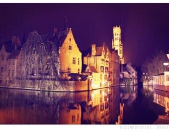 Bruges by night photograph, fine art photo print, night time, Bruges, rozenhoedkaai, city, lights, pretty, travel, belgium
