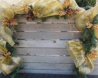 9' Christmas Garland- Christmas Deco Mesh Garland- Gold Garland- Gold Christmas Garland- Leopard Print Garland- Deco Mesh Garland