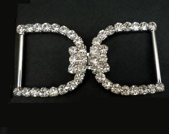 1pr Clear White Rhinestone Buckle Dress Belt Closure Dress Hook for Dress Gown BC67