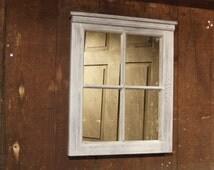 4 Pane Window mirror,shabby chic, Distressed Mirror, Window Sash,  Home Decor, Wall Hang,window pane,  Mirror