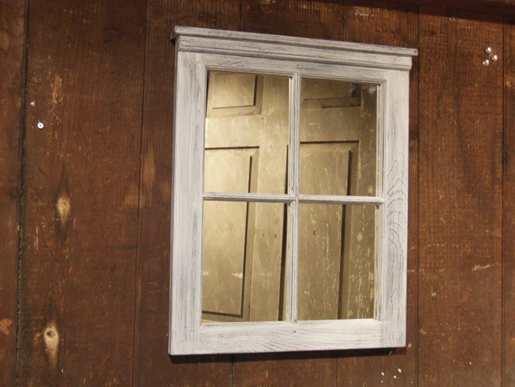 4 Pane Window Mirrorshabby Chic Distressed Mirror Window