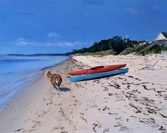 """Original Framed Painting Acrylic on Canvas """"Smith Beach Summer Day"""""""