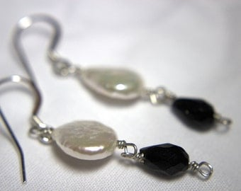 SALE- Handcrafted Sterling Silver Earrings with Pearl and Black Onyx