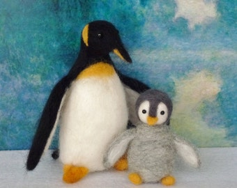Penguins Mother and child (set of 2) handmade Needle felted wool OOAK