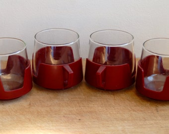 Vintage 1970's JAJ Pyrex Camping Cups - Glass and Plastic- Burgundy